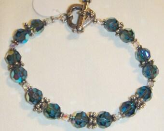 Blue Crystal Bracelet & Sterling Silver  inv1294