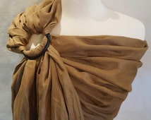 100% Pure Linen Ring Sling Newborn, Infant, Baby, and Toddler Carrier - Gathered Shoulder