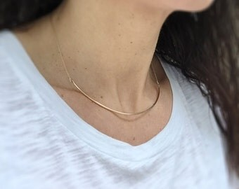 Gold Collar Necklace ~ Simple 14k Gold Filled Wire and Chain Choker ~ Minimal Gold Cuff Necklace