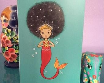 Bright greetings card afro mermaid