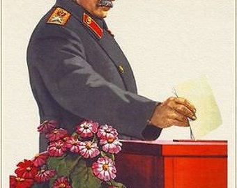 Soviet Union Poster of Stalin Casting A Vote A3 / A2 Print