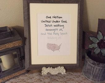 One Nation United Under God Christian Wall Art Print 8x10