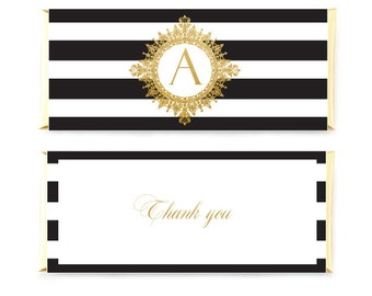 Black And Gold  Candybar Wrappers, Striped Candy Wrapper With Mongram, Thank You Candy Wrappers, Wedding Wrappers, Printable Custom Wrappers