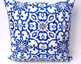 Blue and White Accent Pillow - Blue Toss Pillow - Blue and Gray Pillow - 18 inch pillow