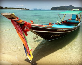 Beach Photography, Nautical Wall Art, Coastal Photography, Longtail Boat Print, Ocean Photo
