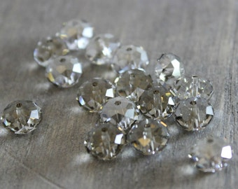Swarovski 8mm 5040 - Crystal Silver Shade - 40 pieces  - Briolette Bead - Destash - Swarovski Crystal - Jewelry Supplies - Crystal Beads