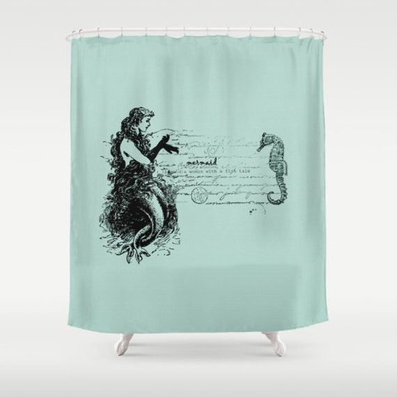 Items Similar To Mermaid Shower Curtain Vintage Mermaid And Seahorse Sea Green Retro