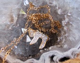 Diamond and 14k Gold Chai Symbol Necklace