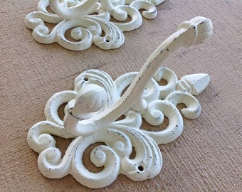 Shabby chic hook - antique white double hook - towel hook - wall hook