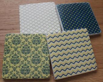 Set of 4 Tumbled Marble Tile Coasters - Navy and Lemon Patterns
