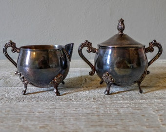 Vintage Leonard Silver Plated Cream and Sugar Containers from 1924