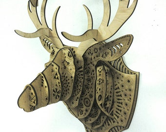 OH DEER GOD!! Laser Cut Wood Deer Head Wall Mount Covered in Geometric Patterns Taxidermy Antlers Layers Kit Hunting Trophy