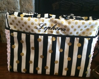 Large Diaper Bag, Custom Diaper Bag, Gold Diaper Bag, Black and White Diaper Bag