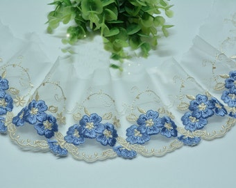 "2 Yards Lace Trim Exquisite Ivory Tulle Blue Flowers Embroidered 3.14"" Wide High Quality"