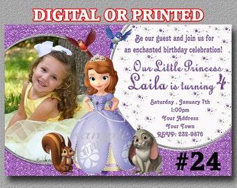 Sofia the First Birthday Invitation YOU Print Digital File or PRINTED Birthday Party invites Princess Sofia invites