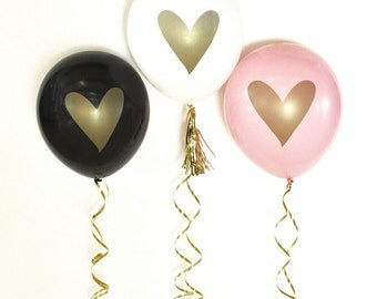 balloons gold heart party bridal shower engagement party wedding anniversary set of 3 balloons gold ink gold foil decor hot pink aqua black