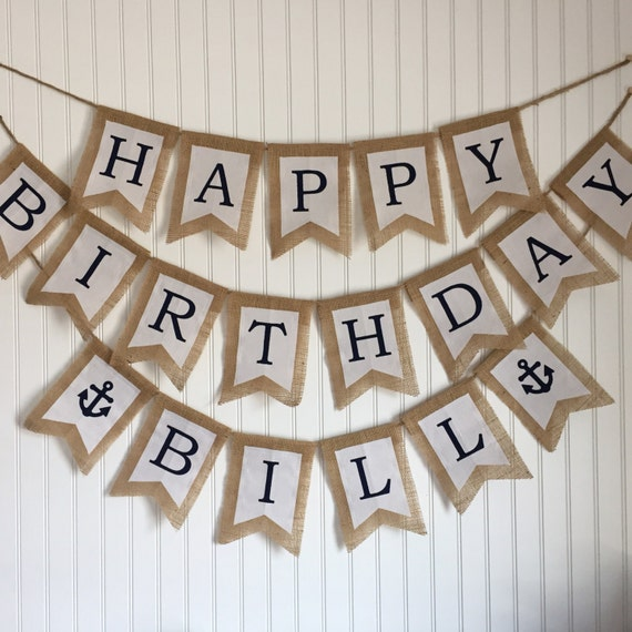 Happy Birthday Banner. Burlap And Fabric Pennant Banner