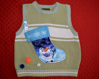 24 months Baby Ugly Christmas Sweater vest, olaf, frozen, 2t
