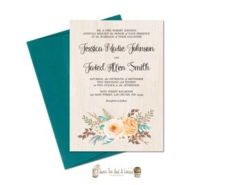 Fall Wedding Invitation Rustic Floral Autumn Printable Digital File or Printed Prints with Free Shipping Brown Peach Teal Flower Country