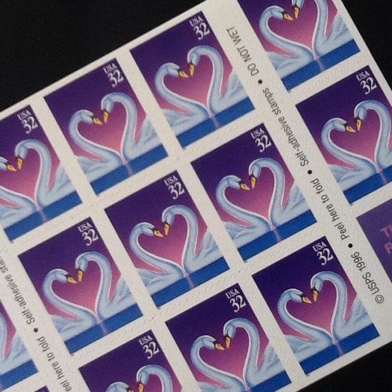 Swan Love Stamps Wedding Invitation Postage Stamps Pink Wedding Unused Postage Unused Stamps