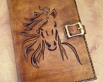 Leather Hand Carved Horse Journal Book Cover with Buckle