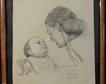 In style of Norman Rockwell 1894-1978 drawing , circa 1995. Mother and child