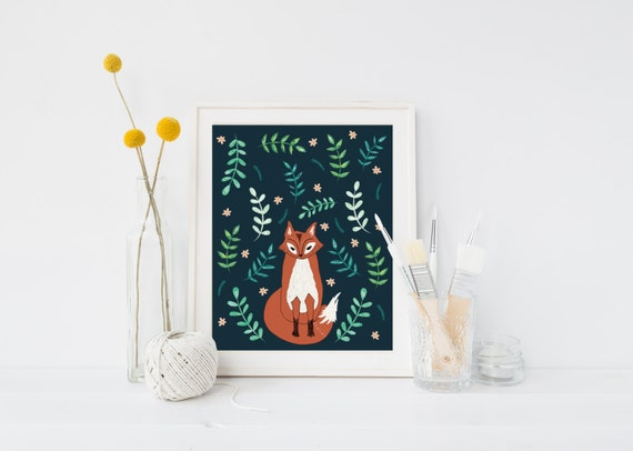 Woodland Botanical Fox Wall Art Art Print By Blacklabstudio