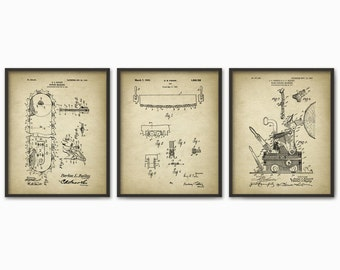 Forestry Patent Prints Set Of 3 - Forestry Poster - Woodworking - Timber - Forest Work - Logging Industry - Lumber - Forestry Equipment Art