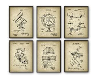 Astronomy Patent Prints Set of 6 - Astronomer Wall Art - Telescope Space Observatory Dome Radio Telescope Planetarium - Astronomer Gift Idea