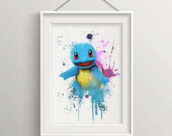 Limited Edition Squirtle Pokemon Watercolour Print