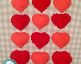 Valentine's hearts fondant cupcake toppers
