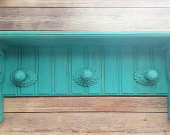 Turquoise Wall Shelf | Coat Rack | Backpack Station | Farmhouse Wall Decor | Vintage Chic Home Decor | Up-Cycled Home Decor | Eco-Friendly