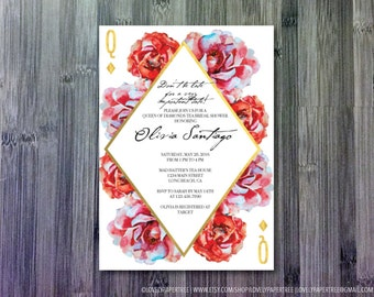 Queen of Diamonds Wonderland bridal shower invitation | BS28