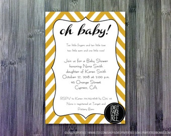 Oh Baby Baby Shower Invitation   BA14
