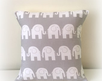 "Funky Light Grey Elephant Cushion Cover Pillow Nursery 12"" or 16"""