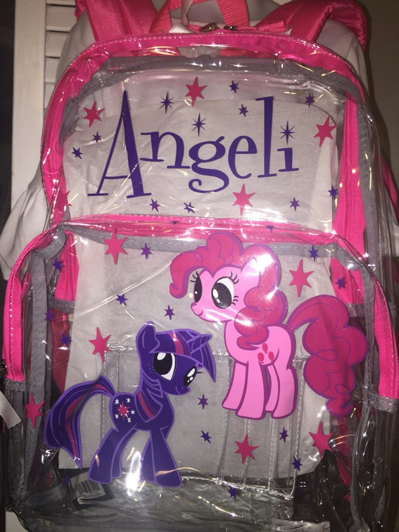personalized clear backpacks pick your design my little pony