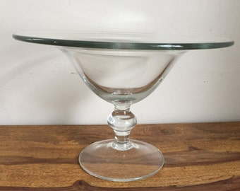 Vintage Clear Glass Pedestal Bowl