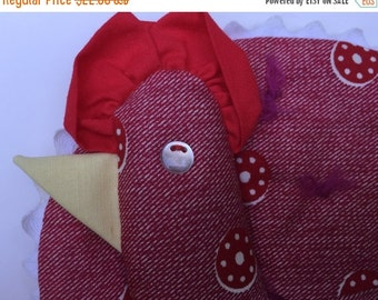Potholders Handmade Roosters1950s Red Calico Ric-Rac Kitschy Retro