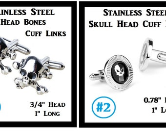 Skull Heads Cuff Links Skull Bones Cuff Links (1) Pair Mens Stainless Steel Cuff Links Great Gift For Daddy Friend Grandfather Wedding Gift
