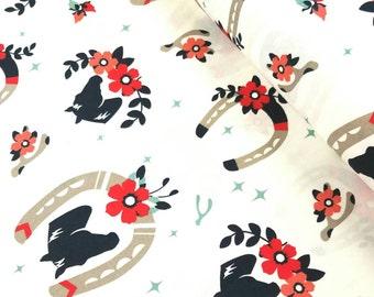 Tall Tales - Buttermilk(Cream Background) - Birch Organic Fabrics