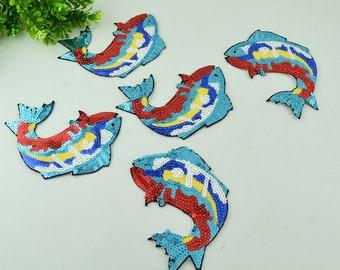 Sequined fish applique patch Paillette embroidered vintage patch T-shirt or Coat decoration patch applique