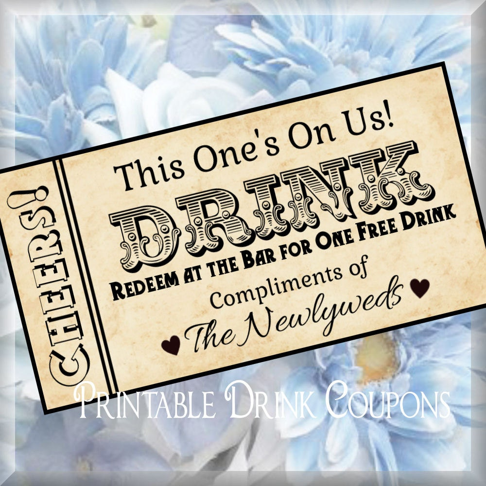 Printable grunge drink tickets diy wedding printable instant for Complimentary drink ticket template