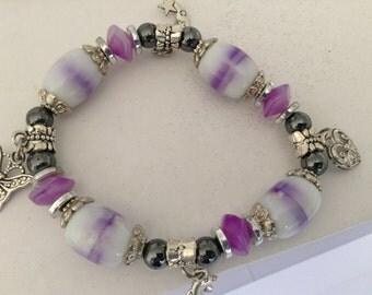 Vintage charm bracelet, purple bead bracelet, 1980s charm bangle, beaded bangle, statement bracelet, everyday bracelet, mauve bracelet