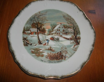 "Currier & Ives ""Homestead In WInter"" Decorative Plate"