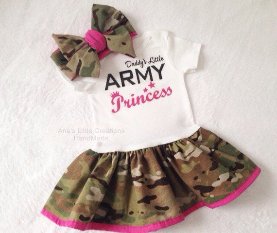 Daddy's Little Army Princess Multicam Body Suit Dress, Army Baby Dress Hot Pink Trim and Self Tied Headwrap/Headband Hot Pink