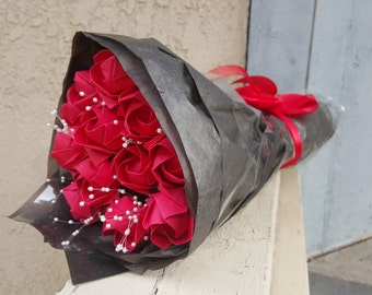 One Dozen Red Origami Roses - Wedding Bouquet - Origami - Valentines Gift - Valentines Day Present - Flowers that last Forever - Red Roses
