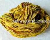 Sari Silk, Sunflower Mix, New Recycled, Ribbon, 5 Yards, Fair Trade, Art Yarn, Textile, Weaving, Yarn, Crochet Yarn, Bangles Ribbon, #131