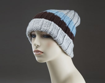 Free Shipping Pure Cashmere Hand Knit Hat  - Color Blocking - Multicolors-  Unisex men women - Bulky Weight - Blue Brown Grey