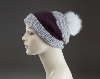 Pure Cashmere Hand Knit Hat  Gray Slouchy Beanie Hat  Loose Fit One of a Kind No mass production