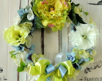 Summer Wreath, Door Wreath, Spring Wreath, Floral Wreath, Flower Wreath, Shabby Chic Wreath, Summer Home French Decor Ornament Decorations